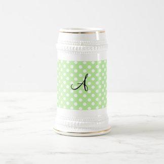 Light green white polka dots monogram coffee mug