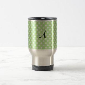 Light green white polka dots monogram coffee mugs