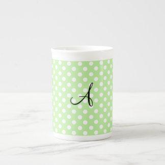 Light green white polka dots monogram porcelain mugs