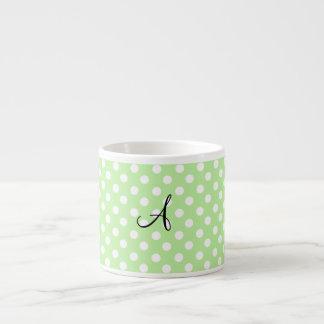 Light green white polka dots monogram espresso mug