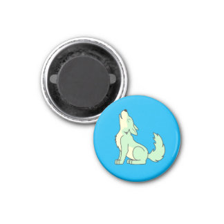 Light Green Wolf Pup Howling 1 Inch Round Magnet