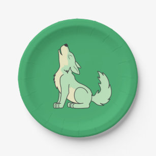 Light Green Wolf Pup Howling Paper Plate  sc 1 st  Zazzle & Green Wolves Plates | Zazzle