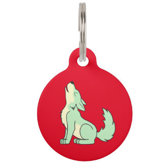 Light Green Wolf Pup Howling Pet ID Tag
