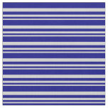 [ Thumbnail: Light Grey and Blue Stripes Pattern Fabric ]