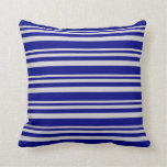 [ Thumbnail: Light Grey and Blue Stripes Pattern Throw Pillow ]