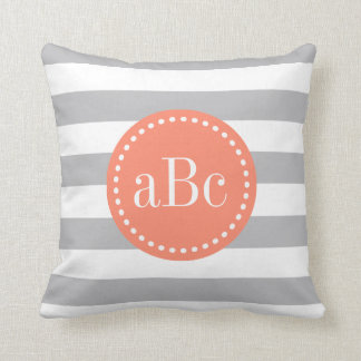 Light Grey and Coral Monogram Throw Pillow