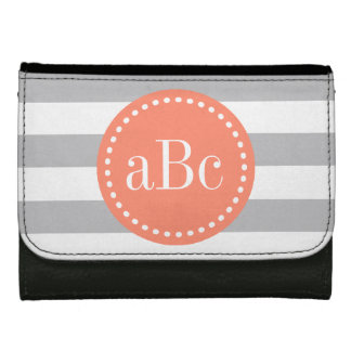 Light Grey and Coral Monogram Wallet