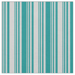 [ Thumbnail: Light Grey and Dark Cyan Colored Stripes Fabric ]