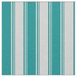 [ Thumbnail: Light Grey and Dark Cyan Colored Stripes Pattern Fabric ]