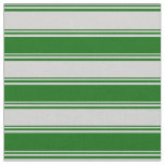 [ Thumbnail: Light Grey and Dark Green Colored Lined Pattern Fabric ]