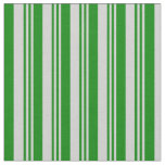[ Thumbnail: Light Grey and Green Colored Lined Pattern Fabric ]