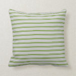 [ Thumbnail: Light Grey and Green Colored Stripes Throw Pillow ]