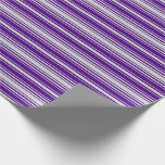 [ Thumbnail: Light Grey and Indigo Colored Lines Wrapping Paper ]