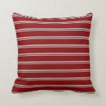 [ Thumbnail: Light Grey and Maroon Colored Lines Throw Pillow ]