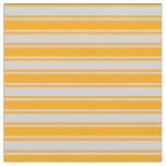 [ Thumbnail: Light Grey and Orange Colored Stripes Pattern Fabric ]