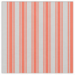 [ Thumbnail: Light Grey and Red Colored Stripes Fabric ]