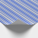 [ Thumbnail: Light Grey and Royal Blue Pattern Wrapping Paper ]