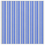 [ Thumbnail: Light Grey and Royal Blue Stripes Pattern Fabric ]