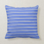 [ Thumbnail: Light Grey and Royal Blue Stripes Pattern Pillow ]