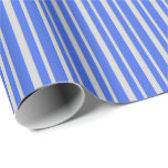[ Thumbnail: Light Grey and Royal Blue Stripes Pattern Wrapping Paper ]