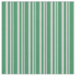 [ Thumbnail: Light Grey and Sea Green Striped Pattern Fabric ]