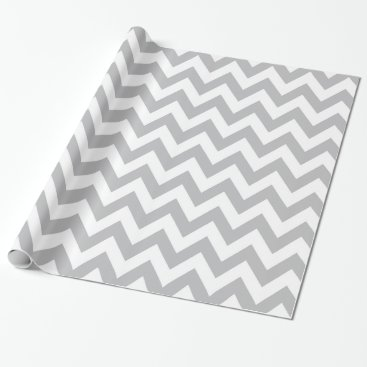 Christmas Themed Light Grey and White Chevron Wrapping Paper
