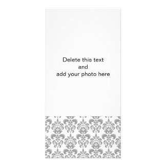 LIGHT GREY AND WHITE DAMASK PATTERN 2 CARD