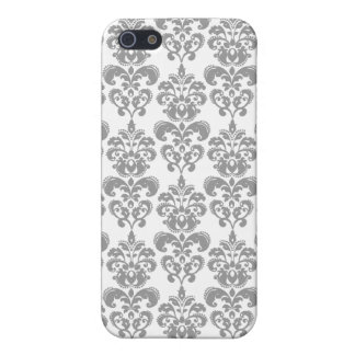 LIGHT GREY AND WHITE DAMASK PATTERN 2 iPhone 5 COVER