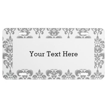 LIGHT GREY AND WHITE DAMASK PATTERN 2 LICENSE PLATE