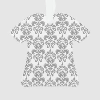 LIGHT GREY AND WHITE DAMASK PATTERN 2 ORNAMENT