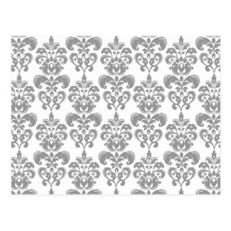 LIGHT GREY AND WHITE DAMASK PATTERN 2 POSTCARD