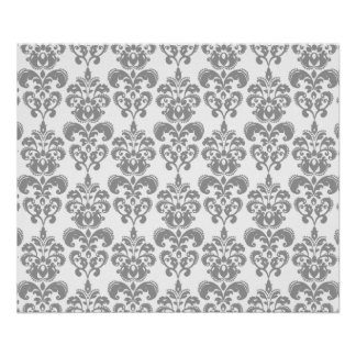 LIGHT GREY AND WHITE DAMASK PATTERN 2 POSTER