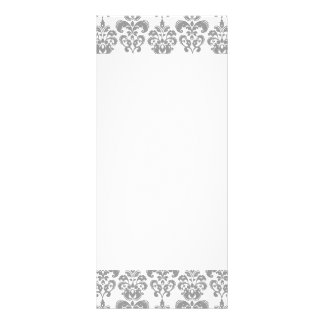 LIGHT GREY AND WHITE DAMASK PATTERN 2 PERSONALIZED RACK CARD