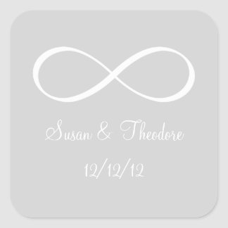 Light Grey and White Infinity Symbol Save the Date Square Sticker