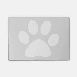 light grey and white pet paw print post-it notes