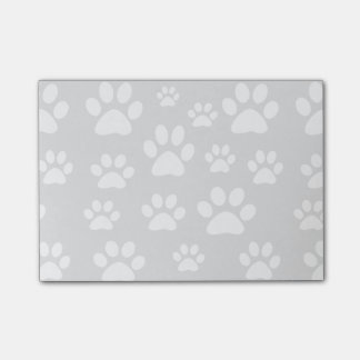 light grey and white pet paw prints post-it notes