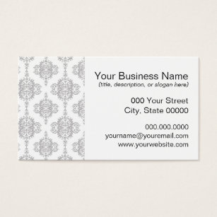 Grey damask business cards templates zazzle light grey and white vintage damask business card reheart Gallery
