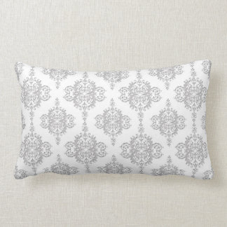 Light Grey and White Vintage Damask Lumbar Pillow