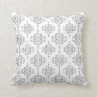 Light Grey and White Vintage Damask Throw Pillow