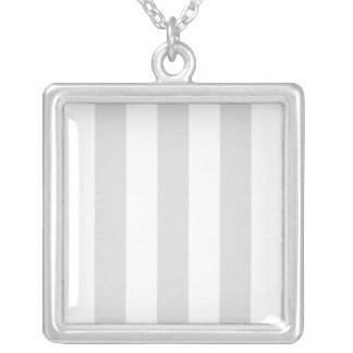 Light Grey and White XL Stripe Pattern Square Pendant Necklace