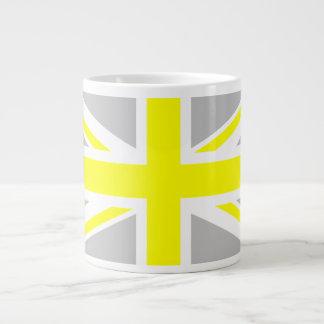 Light Grey and Yellow Union Jack Large Coffee Mug