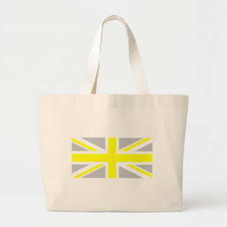 Light Grey and Yellow Union Jack Large Tote Bag