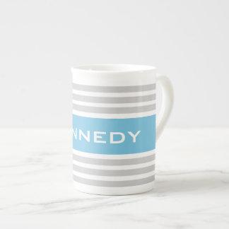 Light Grey & Aqua Blue Stripes & Custom Monogram Tea Cup