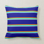 [ Thumbnail: Light Grey, Aqua, Dark Orange, and Dark Blue Throw Pillow ]