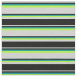 [ Thumbnail: Light Grey, Black, Dark Cyan & Light Green Lines Fabric ]
