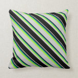 [ Thumbnail: Light Grey, Black, Dark Cyan & Light Green Lines Throw Pillow ]