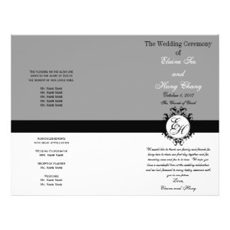 "Light Grey Black Wedding Program Chic Monogrammed 8.5"" X 11"" Flyer"