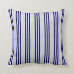 [ Thumbnail: Light Grey & Blue Colored Stripes Throw Pillow ]