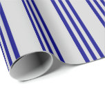 [ Thumbnail: Light Grey & Blue Colored Stripes Wrapping Paper ]
