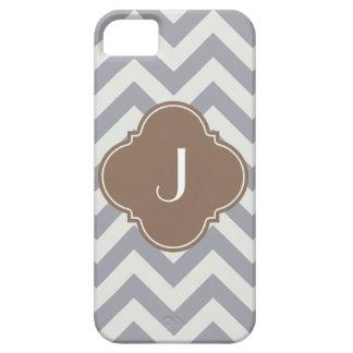 Light Grey Chevron Custom Monogram iPhone 5 Cases